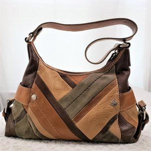 Fossil Leather/Suede Patchwork Shoulder Bag